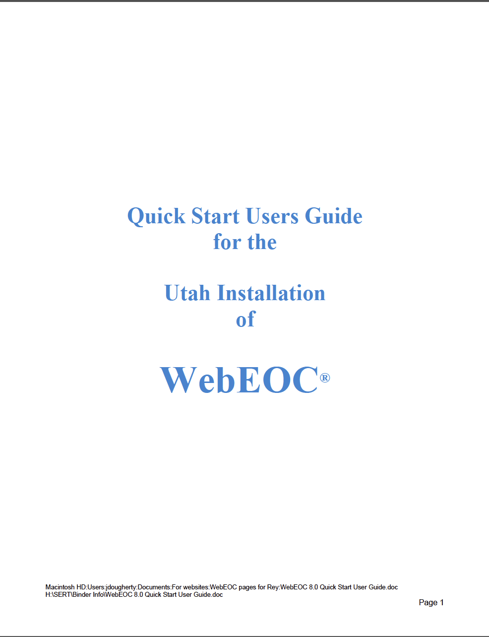 WebEOC Quick Start Users Guide