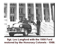 Sgt. Langford with 1950 Ford restored by honorary colonel