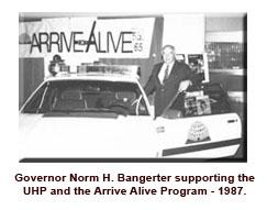 Gov. Banoerter supporting UHP Arrive Alive program 1987