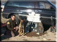 Trooper with K9 by drug bust