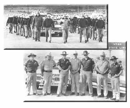 Historical photos of UHP troopers marching and in front of a car