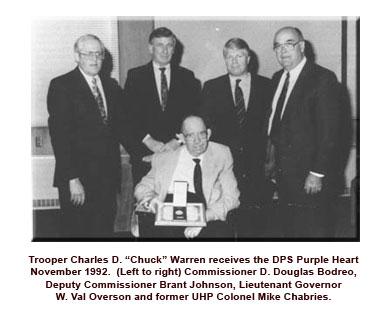 Chuck Warren getting purple heart in 1992
