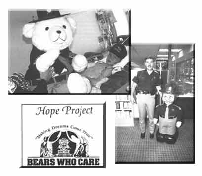 Historical picture of UHP trooper bears for the Hope project