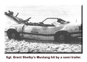 Crushed mustang car