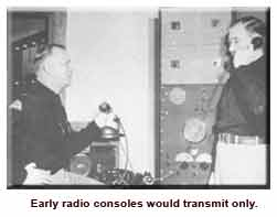 Historical photo showing troopers using radio