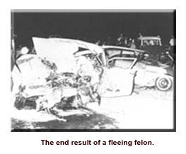 Felon's crashed car