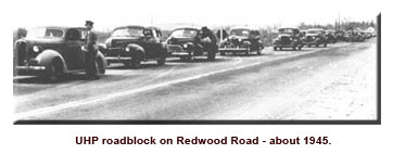 Historical photo of UHP roadblock on Redwood Rd