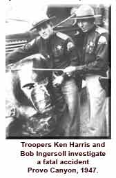 Historical photo of troopers investigating fatal crash
