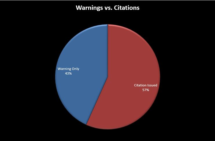 Pie chart showing warnings vs. citations