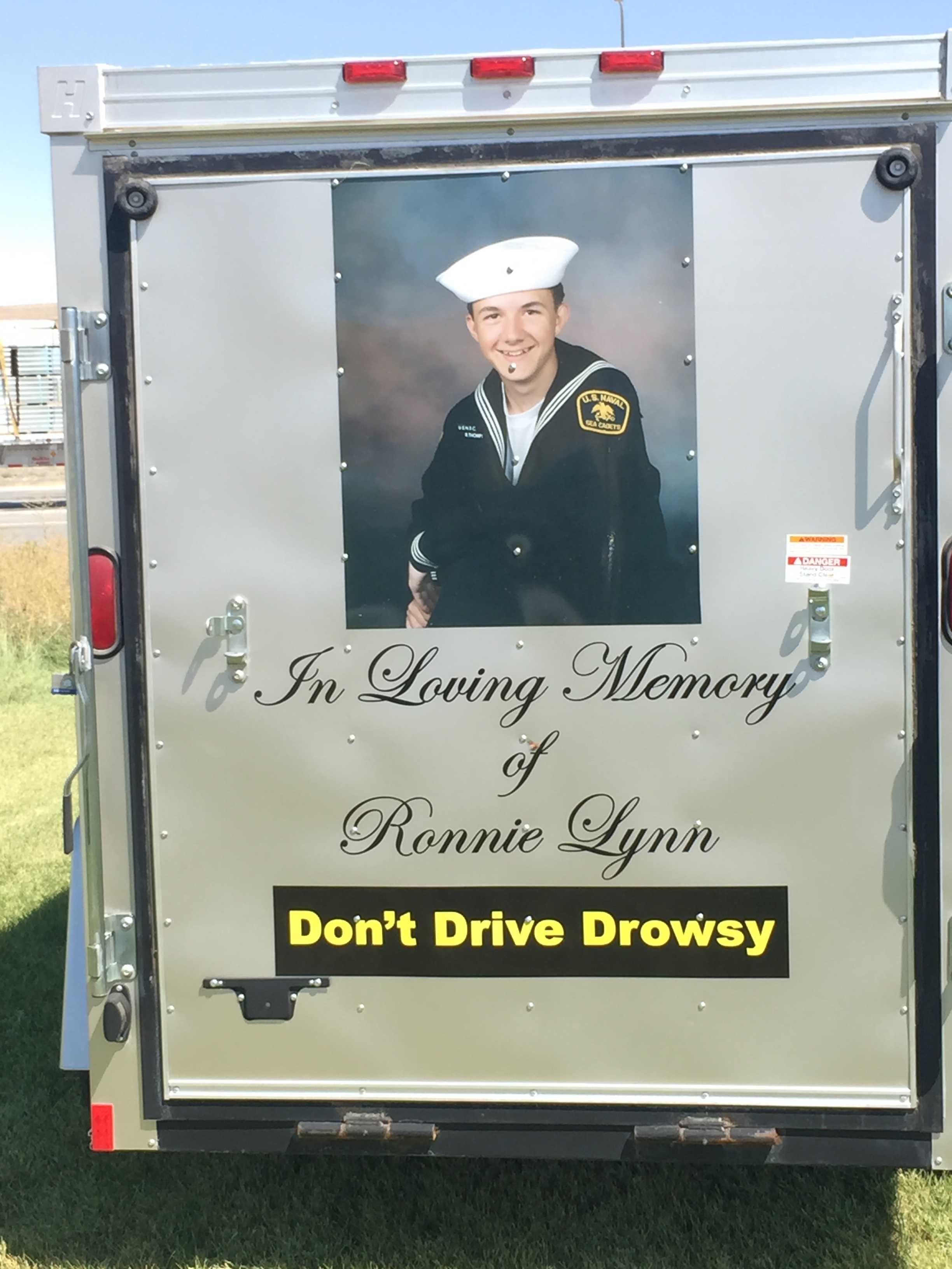 Trailer from NODD with picture of Ronnie Lynn who was killed in a drowsy driving crash