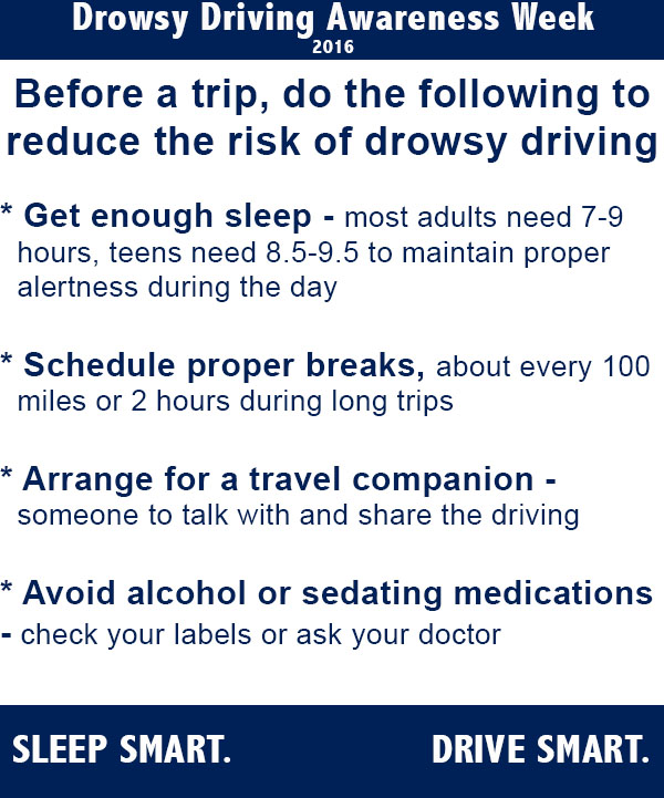 Tips to follow before a long trip to help prevent drowsy driving.