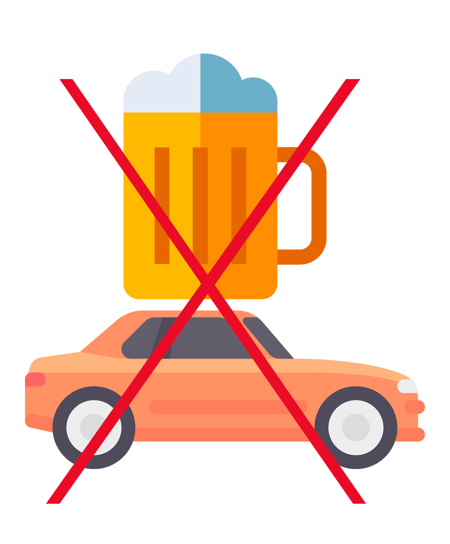 Beer and car icons with a large x over them