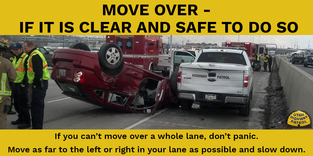 Move Over if it is clear and safe to do so. If you can't move over a whole lane. Don't panic and don't slam on your brakes. Move as far to the left or right in your lane as possible, and look where you want to go.