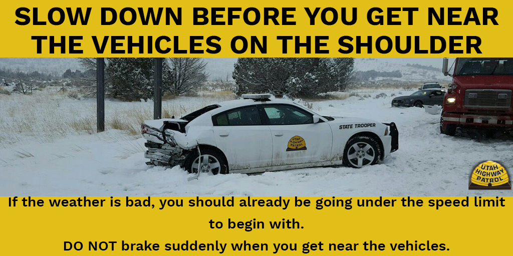 Slow down before you get near the vehicles on the shoulder. If the weather is bad, you should already be going under the speed limit to begin with. Don't brake suddenly when you get near the vehicles on the shoulder.