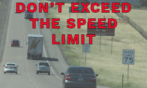 Don't exceed the speed limit - picture of cars driving south on the 15 in southern Utah