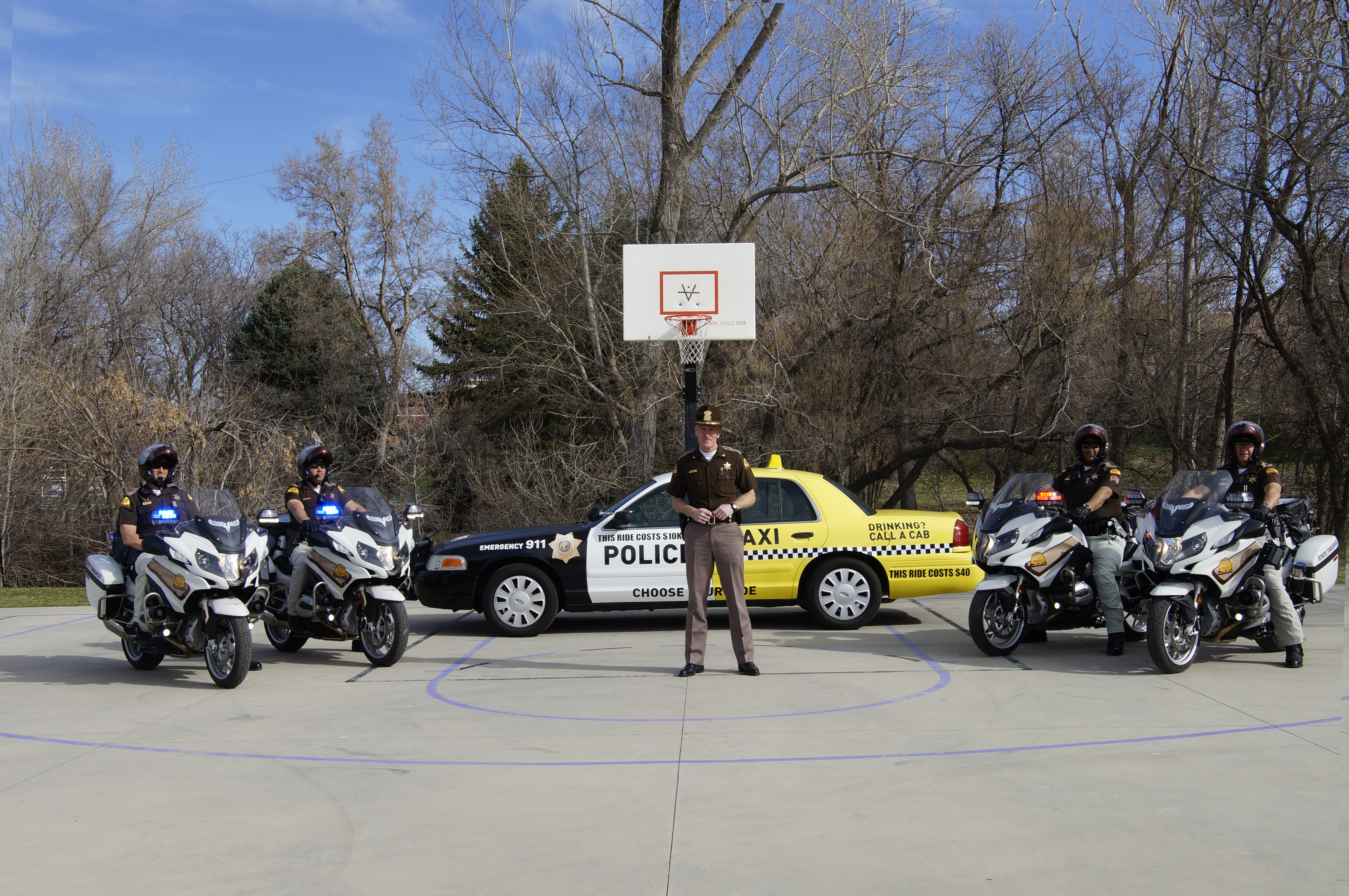 Colonel Rapich with UHP motor officers at the St. Patrick's Day and NCAA tournament DUI prevention media event.