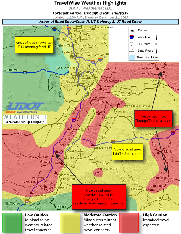 Map showing anticipated weather throughout Utah