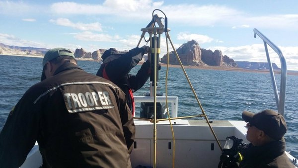 Members of the DPS dive team search Lake Powell