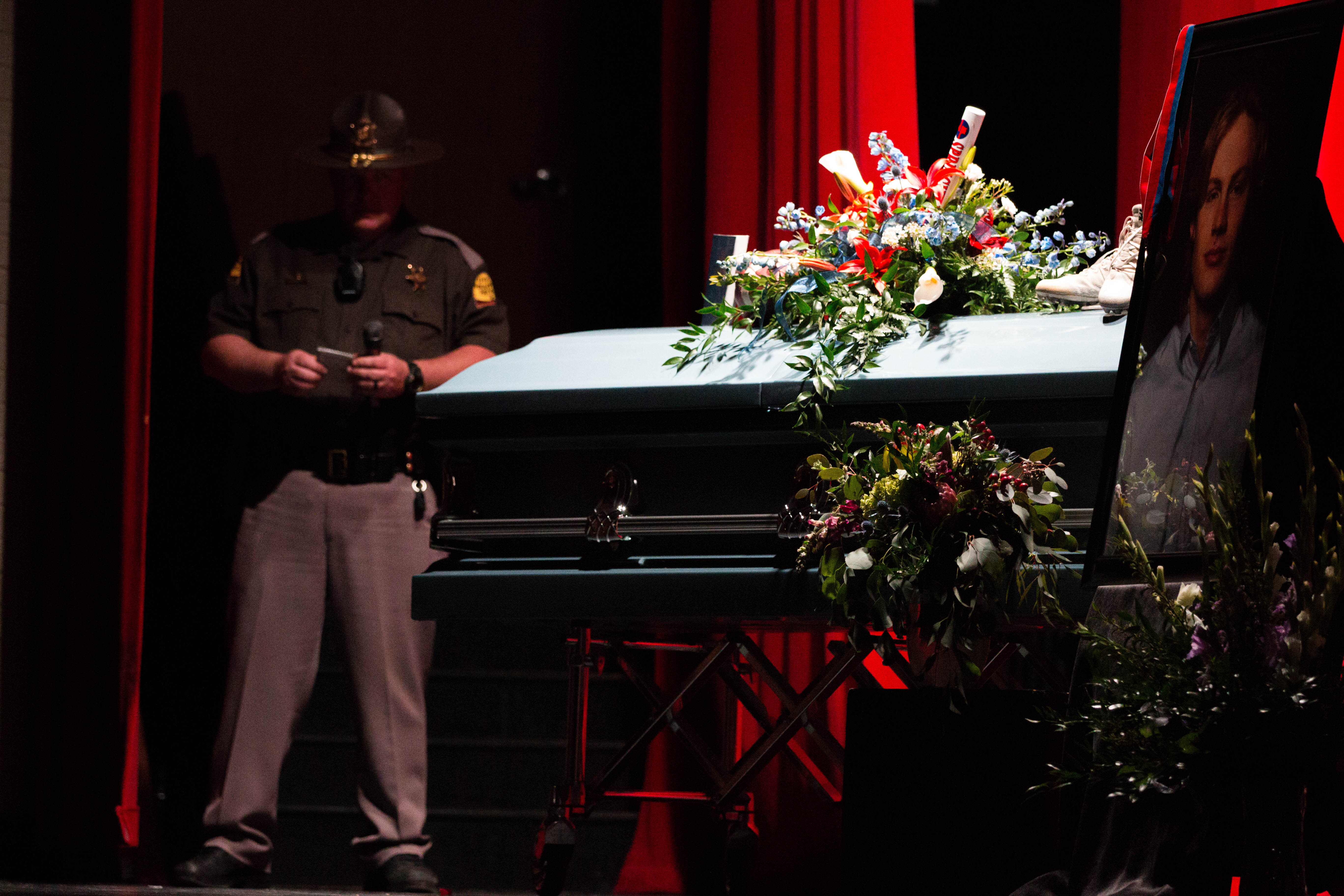 Trooper Bradford at the staged funerals following the mock crash. UHP, Springville PD, SPringville Fire and Rescue, Utah County Sheriff's Office and Lifeflight teamed up to conduct a mock crash at Springville High School on April 10th.