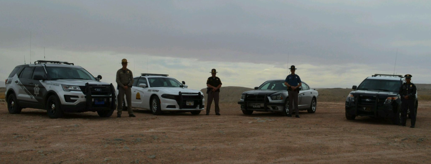 Troopers from Utah, Arizona, Colorado and New Mexico met at the Four Corners monument to mark their participation in the border to border seat belt initiative.