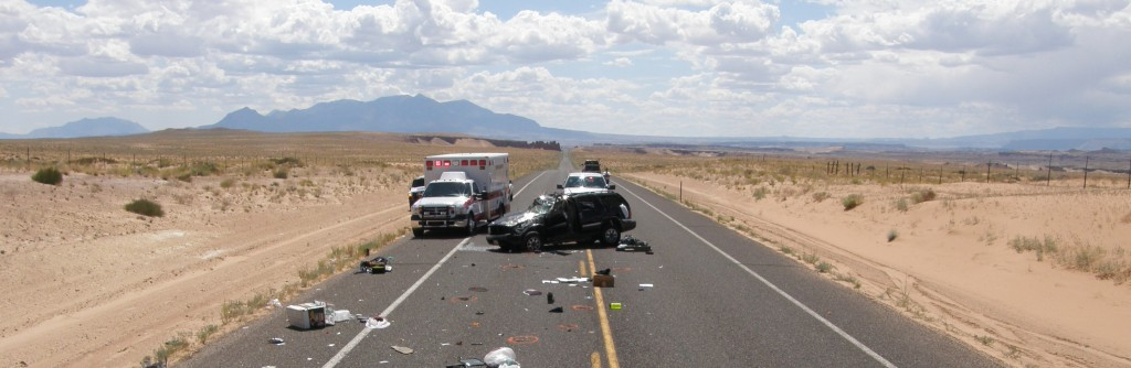 Scene of a crash in rural Utah