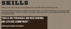 Screen shot of skills page on ridetoliveutah.org