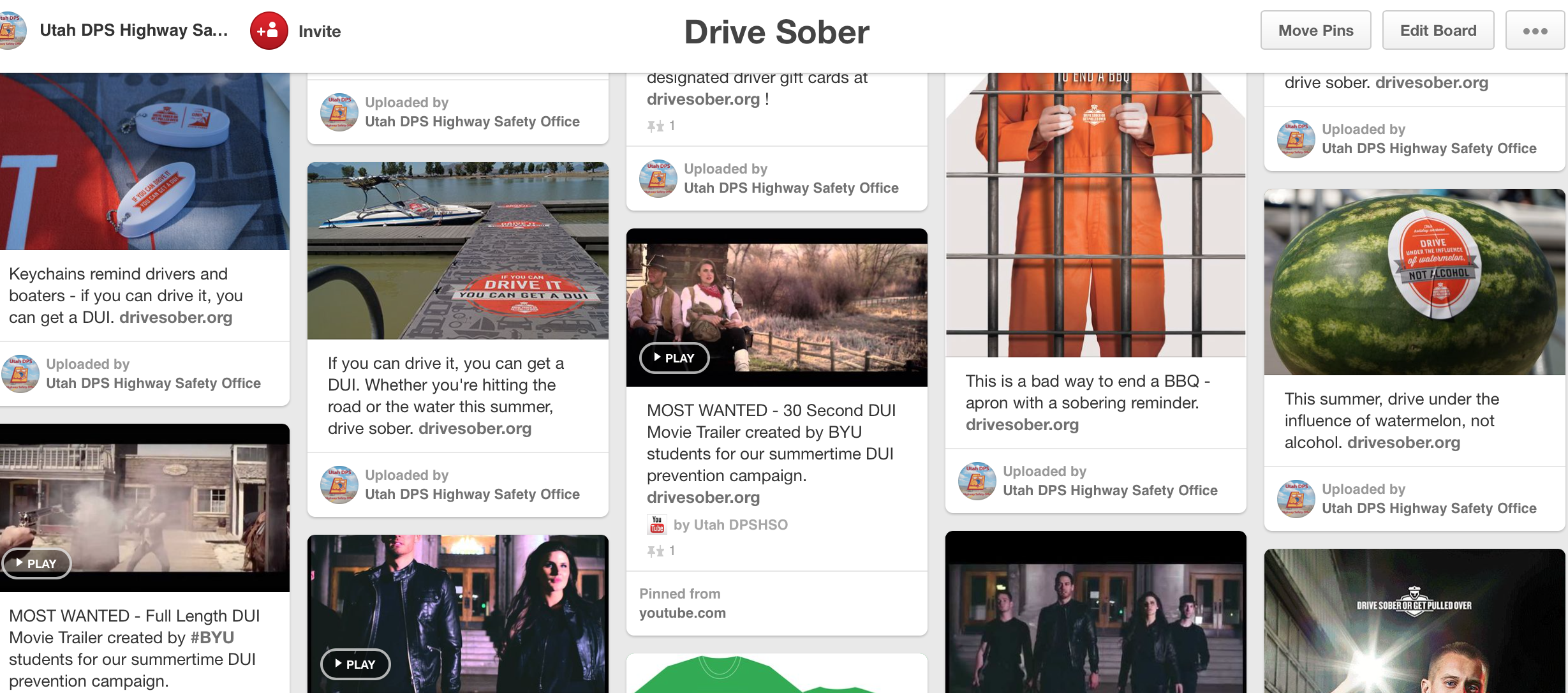 Screen cap of our drive sober Pinterest Page