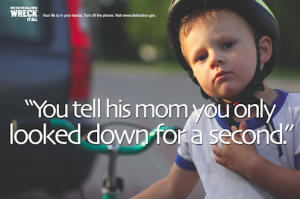 "Poster with little boy ""You tell his mom you only looked down for a second"""