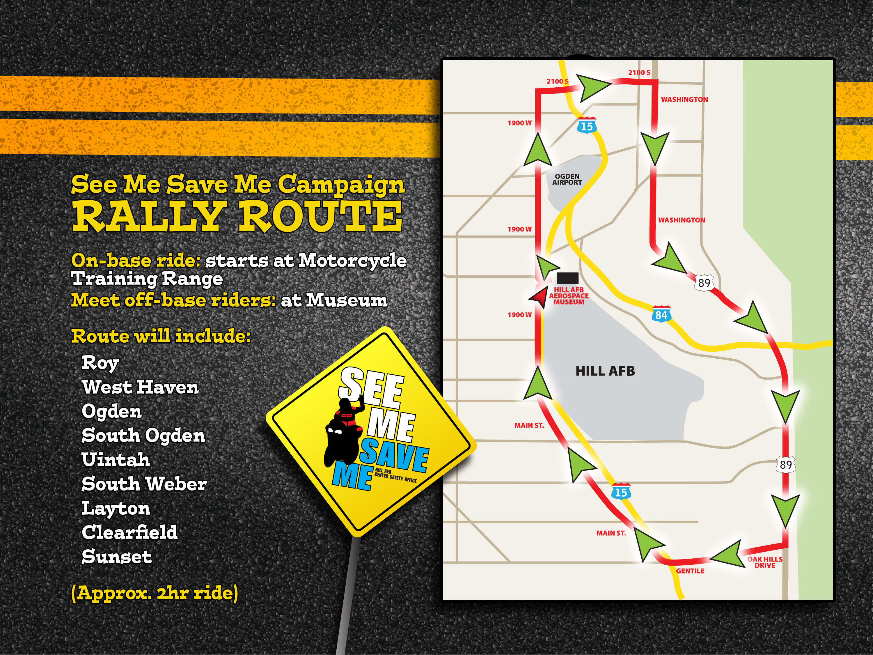 Map of route of See Me Save Me Ride