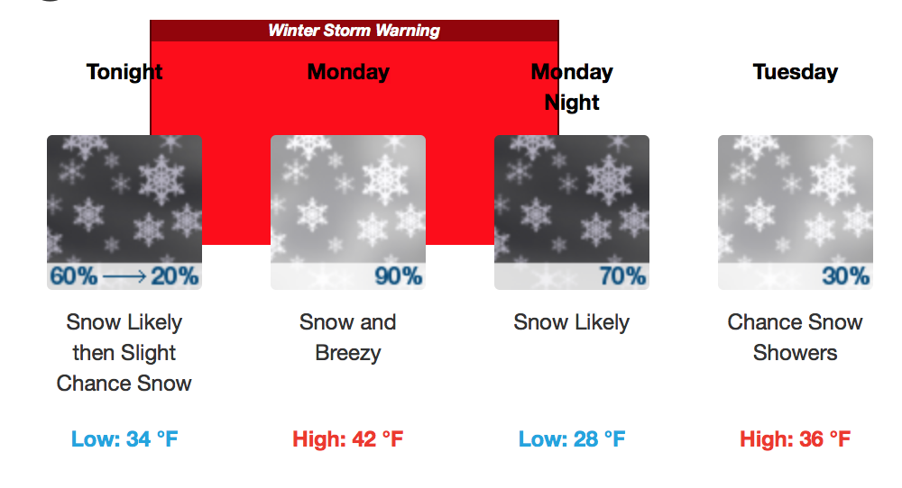Winter storm warning for Wasatch Front Monday and Tuesday