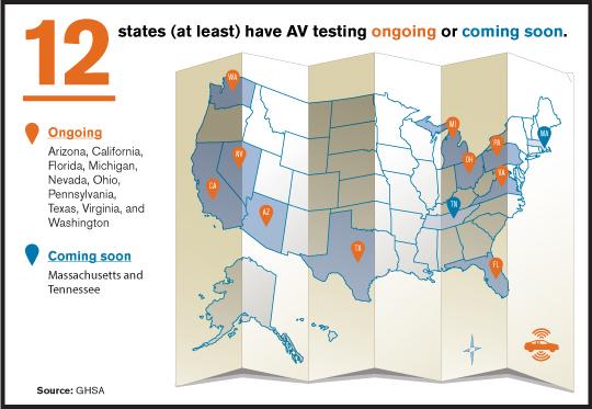 Map showing states testing autonomous vehicles