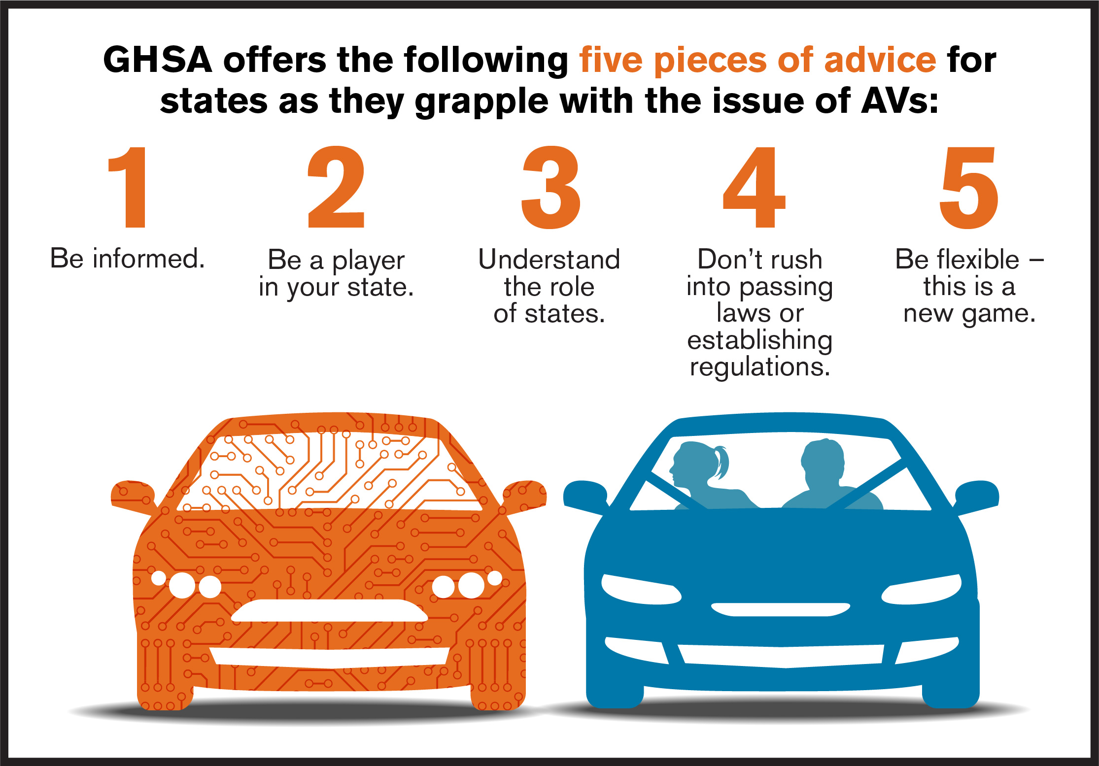 5 pieces of advice for states with regard to autonomous vehicles