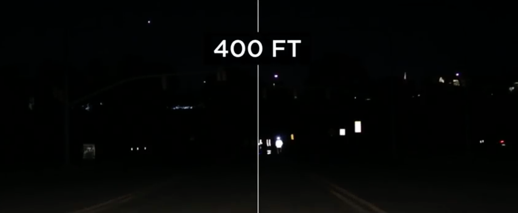 Split screen shows that runners with reflective gear on are visible to drivers at 400 feet whereas runners without reflective gear cannot be seen at all.