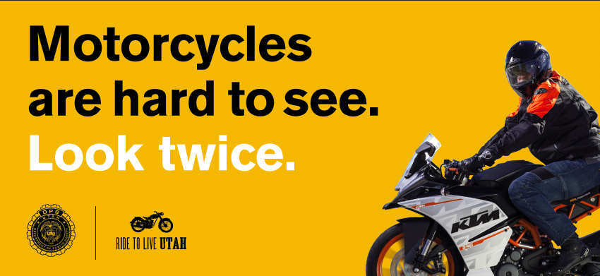 Billboard with message - Motorcycles are hard to see: look twice