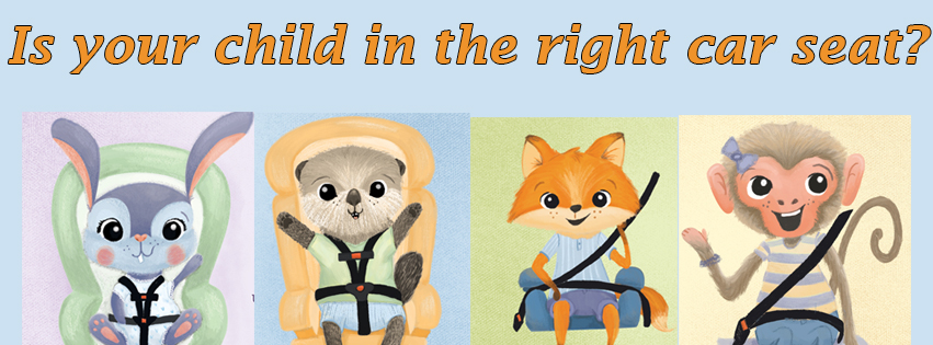 Is your child in the right car seat? Illustration shows small animals in different car seats.