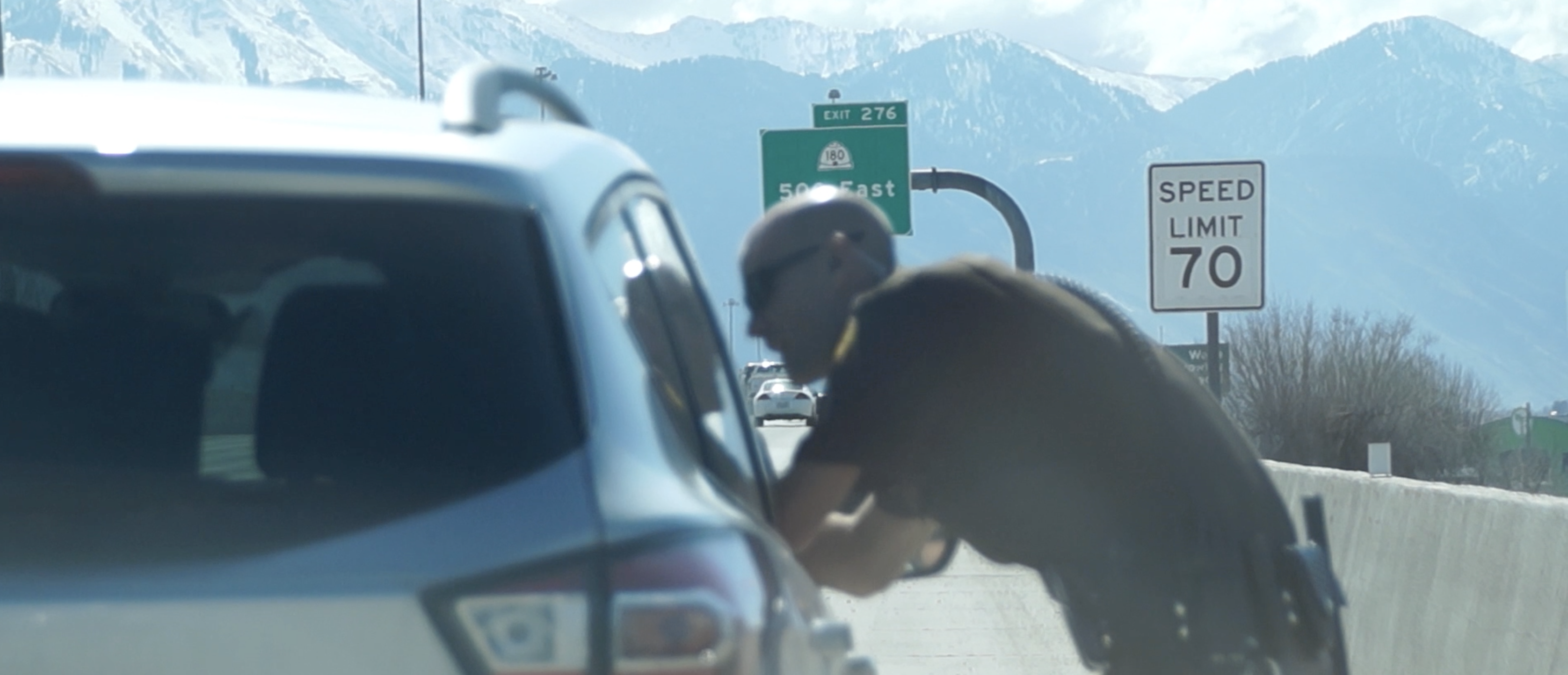 UHP trooper conducts a traffic stop for speeding.