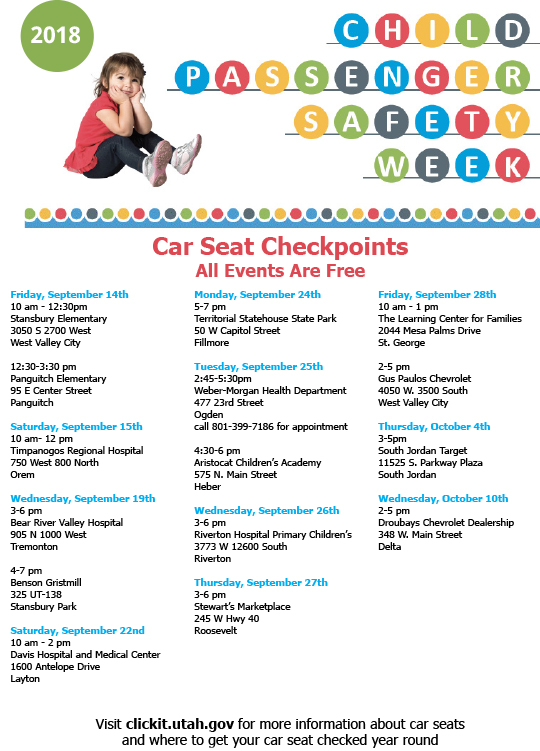 Car seat technicians will be conducting free car seat checks throughout the state during Child Passenger Safety Week