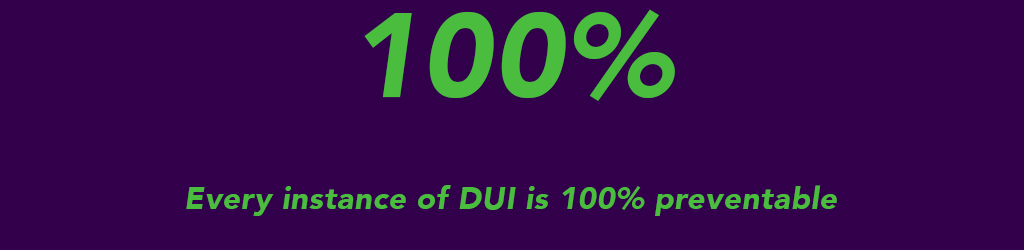 Every instance of DUI is 100 percent preventable