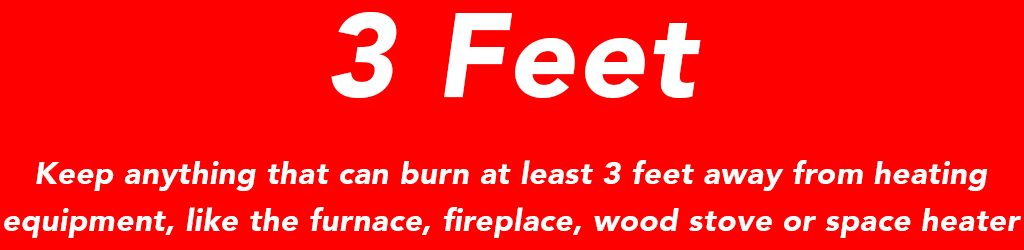 Keep anything that can burn at least 3 feet away from heating equipment like the furnace, fireplace, wood stove or space heater