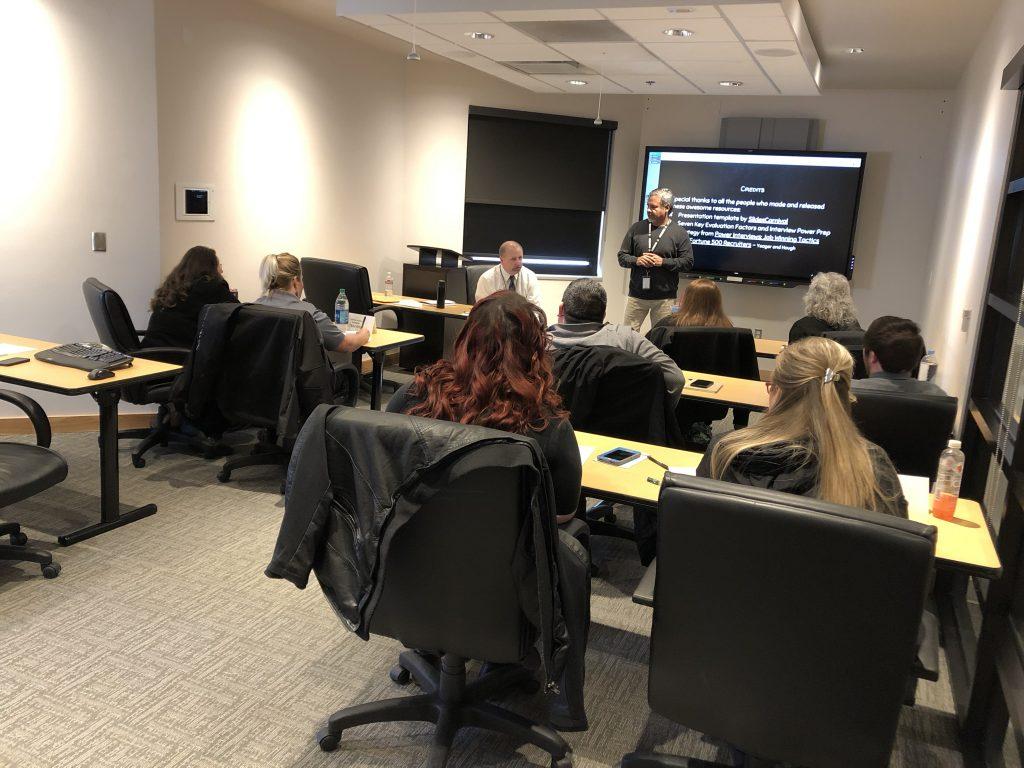 John Fairbanks and Dave Tafoya teach their interview techniques class.