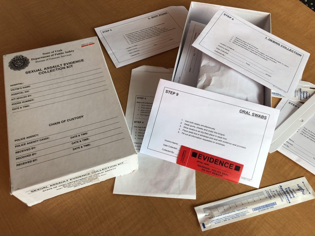 The sexual assault evidence collection kit include numerous envelopes that are used for evidence collection.