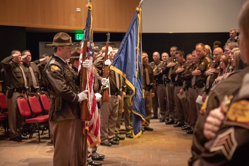 The UHP Honor Guard presents the colors at the graduation and swearing in ceremony for the UHP One Class.
