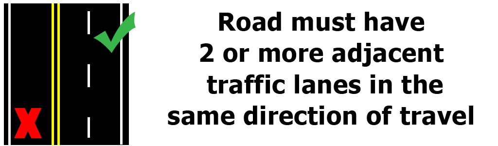 A motorcycle can only lane filter on a roadway with 2 or more adjacent traffic lanes in the same direction of travel.