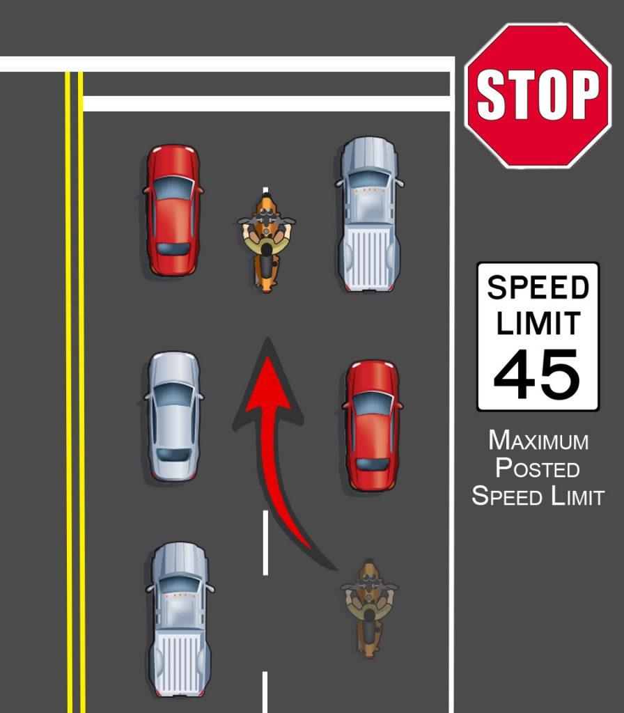 Motorcycle lane filtering demonstration
