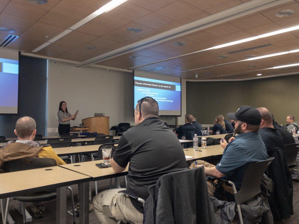Resource Prosecutor Marlesse Jones teaches at the SBI training for sex crimes investigators.