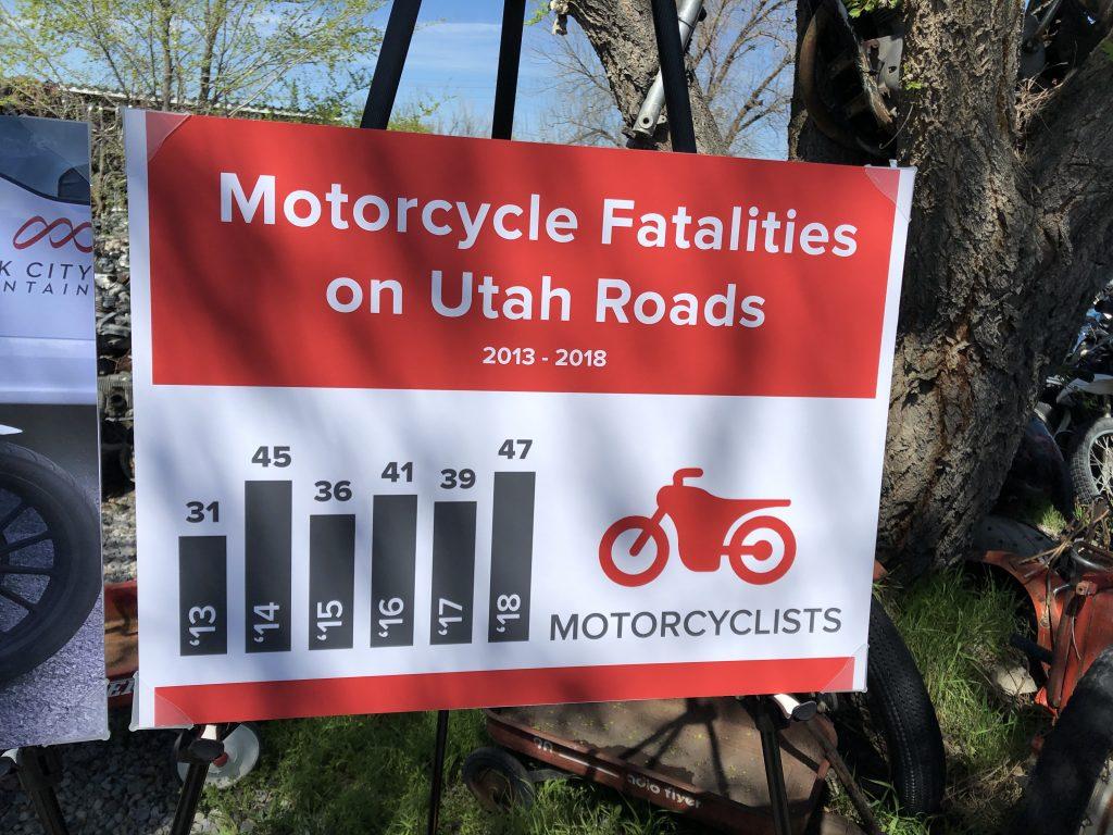 Poster with information about motorcycle fatalities in Utah 2013*2018