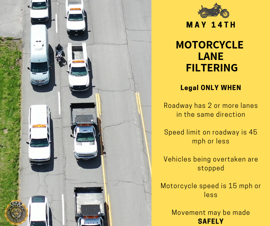 Photo shows motorcycle lane filtering and then has text describing the circumstances under which it is legal.