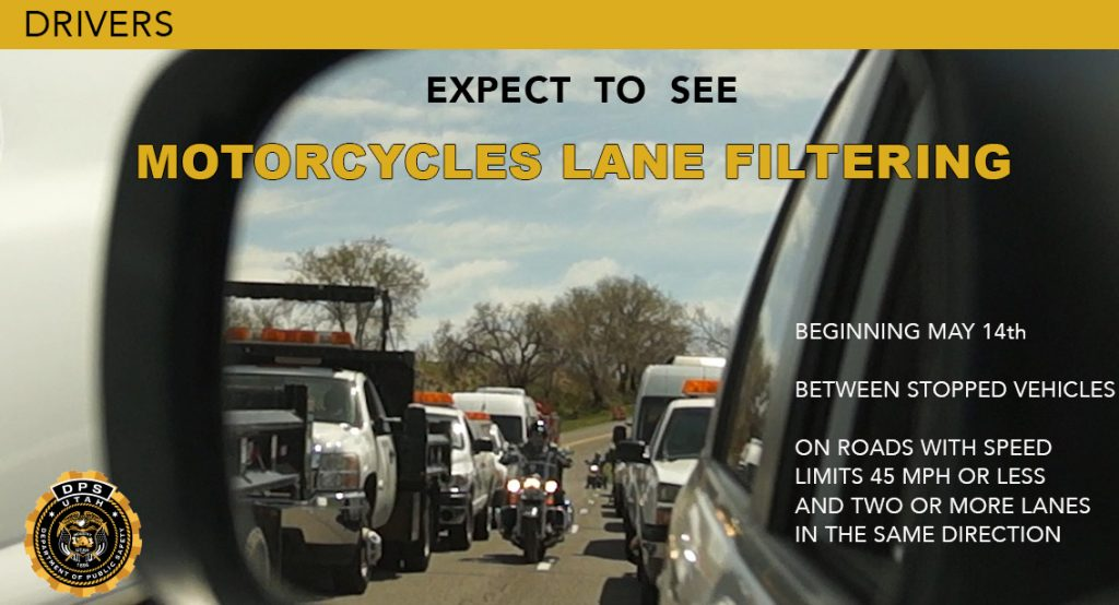 Drivers should expect to see motorcycles lane filtering between stopped vehicles starting May 14th.