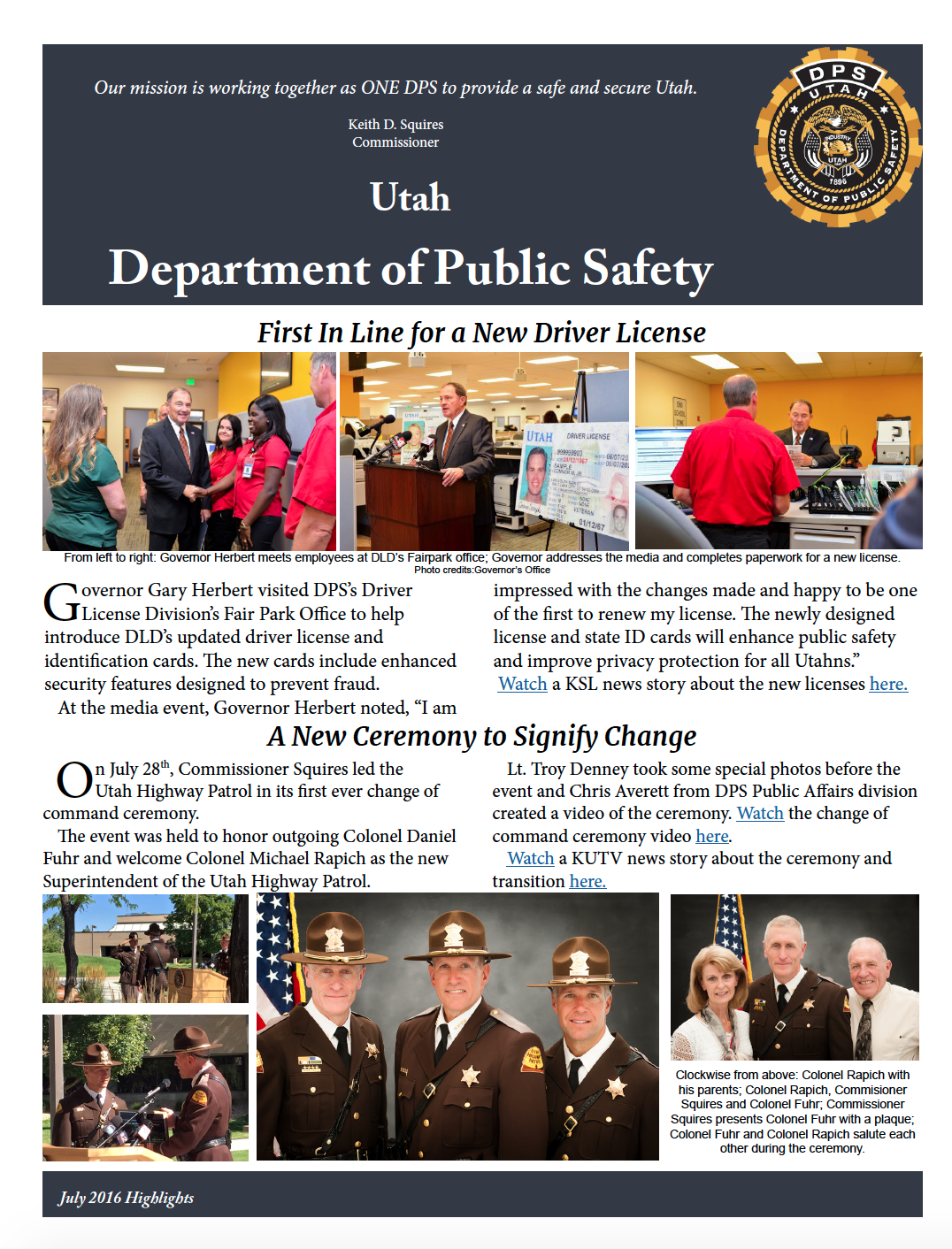 screen shot of first page of July DPS highlights