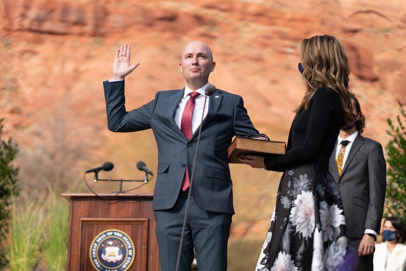 Utah Gov. Spencer J. Cox is sworn in.